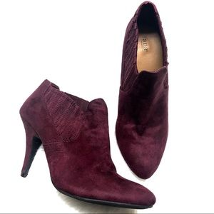 a.n.a wine colored velvet heeled booties